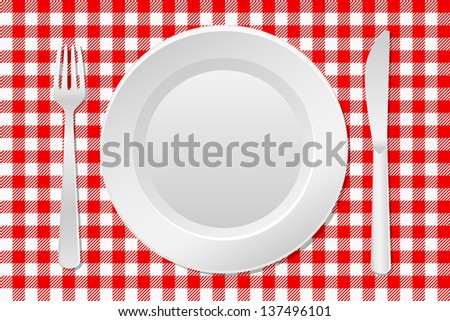 vector illustration of a laid table with an empty plate and checkered tablecloth