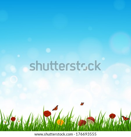 Vector Illustration of a Landscape with Grass and Flowers - stock vector