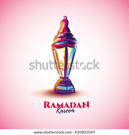 vector illustration of a lantern Fanus, the Muslim feast of the holy month of Ramadan Kareem. illustrations in the style of watercolor paints.  - stock vector