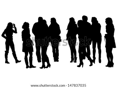 Vector illustration of a large crowd of young girls. Property release is attached to the file