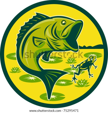vector illustration of a largemouth bass jumping with frog and lily pads set inside a circle done in retro woodcut - stock vector
