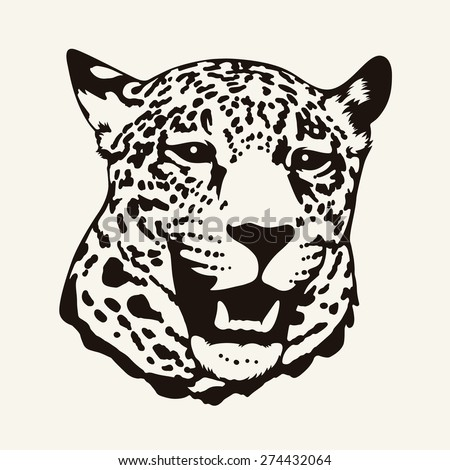Vector Illustration Of A Leopard Head In One Color T Shirt Design