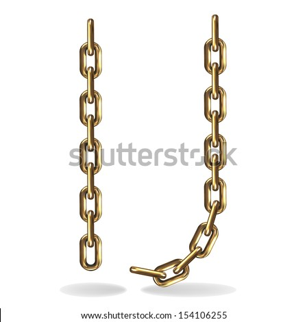 Vector Illustration of a letters I, J from a gold chain on a white background - stock vector