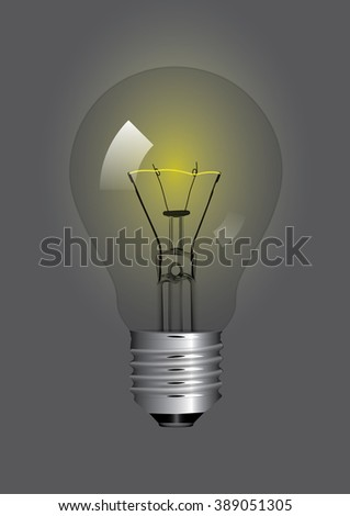 Vector illustration of a light bulb switched on