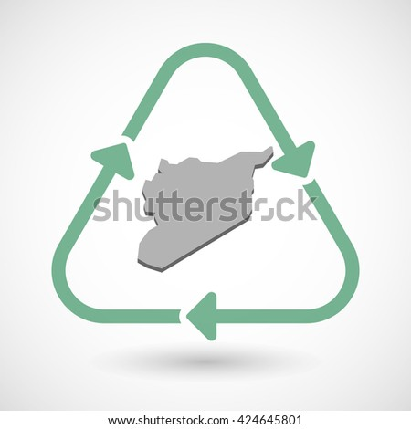 Vector illustration of a line art recycle sign icon with  the map of Syria