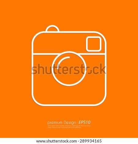 Vector illustration of a linear camera icon. Flat design. - stock vector