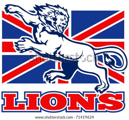 vector illustration of a Lion attacking with  British Great Britain union jack flag in background