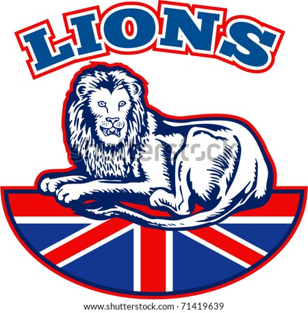 vector illustration of a Lion sitting on fours  with British Great Britain union jack flag in background