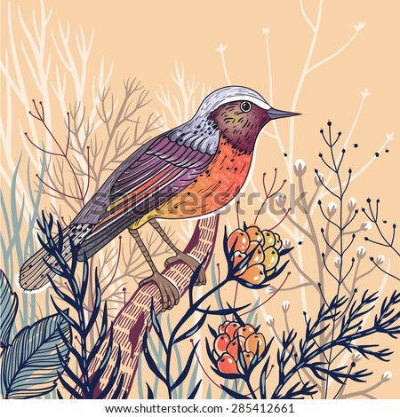 vector illustration of a little bird with plants and berries - stock vector
