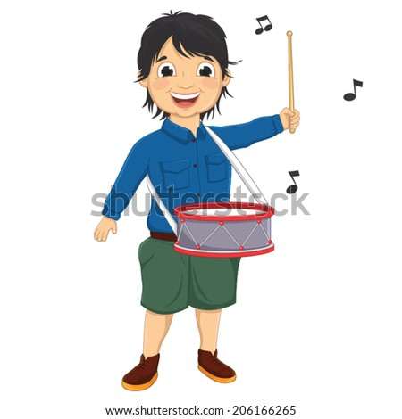 Vector Illustration Of A Little Boy Playing Drum - stock vector