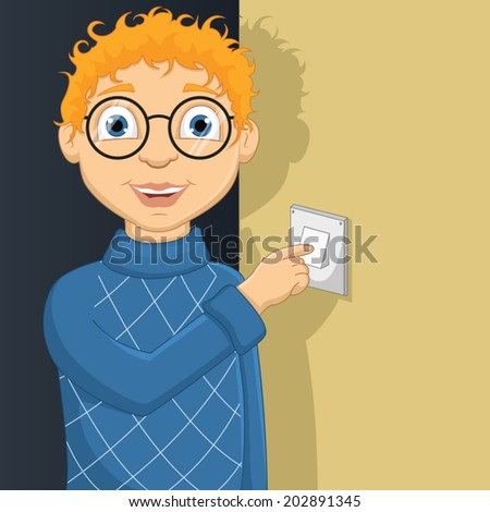 Vector Illustration Of A Little Boy Switching On Lamp  - stock vector