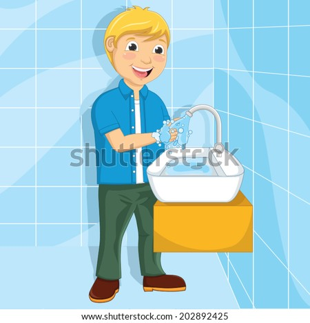 Vector Illustration Of A Little Boy Washing His Hands  - stock vector