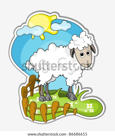 vector illustration of a little cute sheep in grassland - stock vector