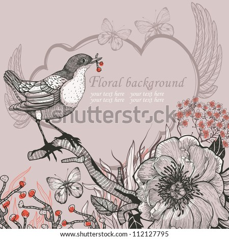 vector illustration of a little forest bird and blooming wild flowers - stock vector