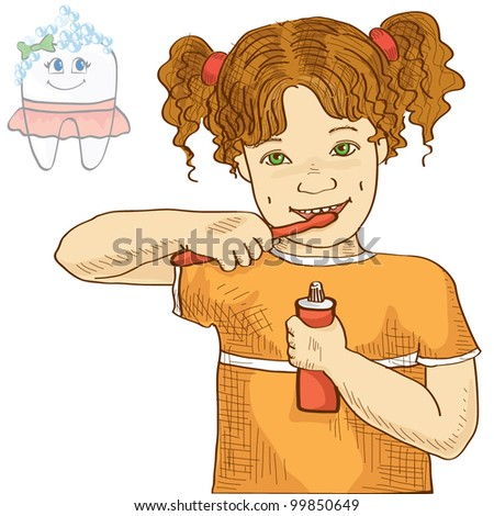 Vector illustration of a little girl brushing her teeth - stock vector