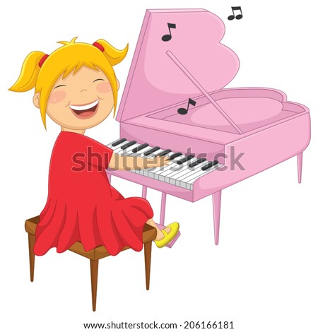 Vector Illustration Of A Little Girl Playing Piano - stock vector