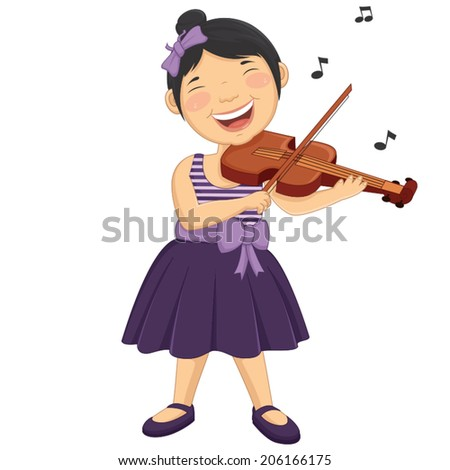Vector Illustration Of A Little Girl Playing Violin - stock vector