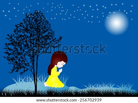 Vector illustration of a little girl praying - stock vector
