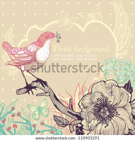 vector illustration of a little red bird and blooming flowers - stock vector