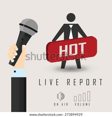vector illustration of a live report with button hot news and microphone - stock vector