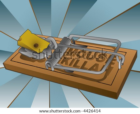 "Vector illustration of a loaded mousetrap with a wedge of swiss cheese. ""MOUSE KILLAH"" - stock vector"
