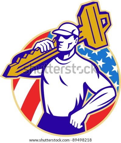 vector Illustration of a locksmith holding a key facing front with American stars and stripes flag in background set inside a circle done in retro style.