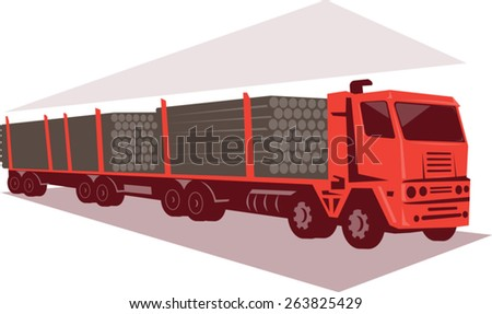vector illustration of a logging lorry truck and trailer done in retro style. - stock vector