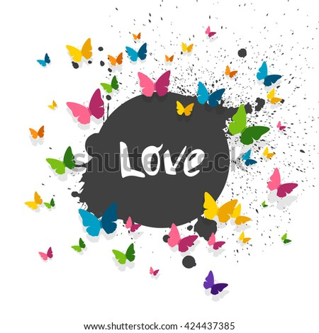 Vector Illustration of a Love Background with Colorful Paper Butterflies - stock vector