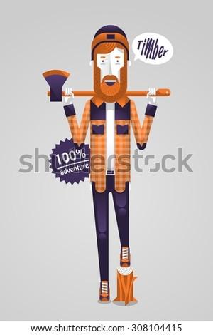 vector illustration of a lumberjack - stock vector