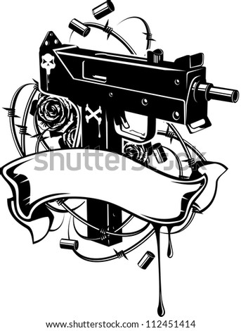 Vector illustration of a machine gun with barbed wire and ribbon