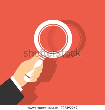 Vector Illustration Of  A Magnifying Glass in Hand  - stock vector