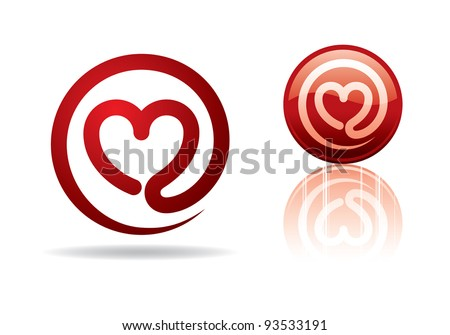 Vector illustration of a mail heart. Can be easily colored and used in your design. - stock vector