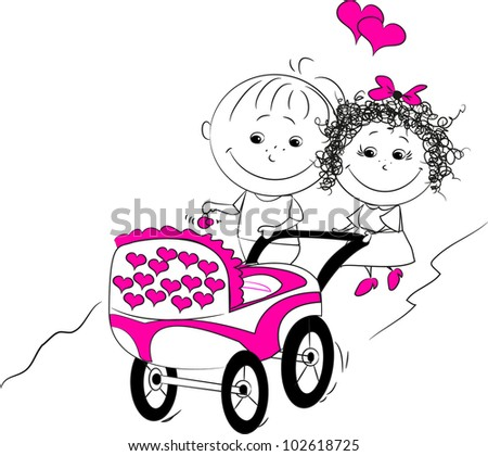 vector illustration of a man and a woman walking with a pram