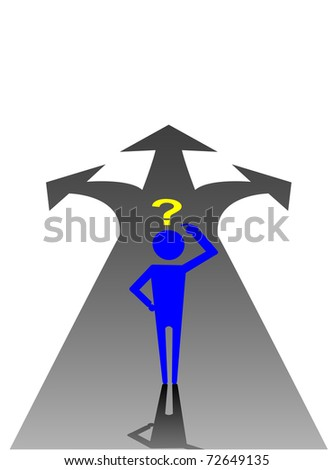 vector illustration of a man choosing the right path - stock vector