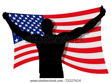 Vector illustration of a man figure carrying the flag of USA