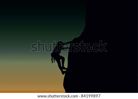 Vector illustration of a man figure climbing a cliff at dusk - stock vector