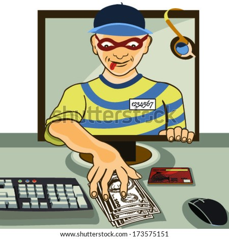 Vector illustration of a man from a computer monitor stealing money   - computer thief serial. - stock vector