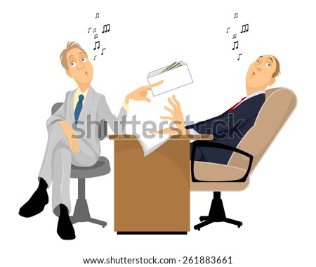 Vector illustration of a man giving a bribe - stock vector