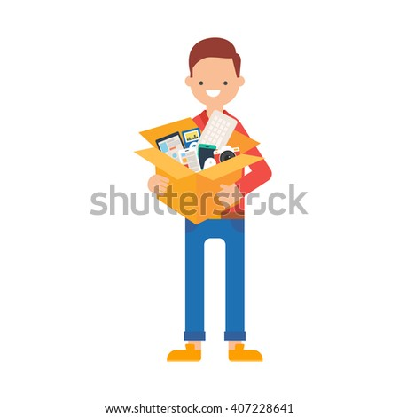 Vector illustration of a man holding a box of electronic gadgets