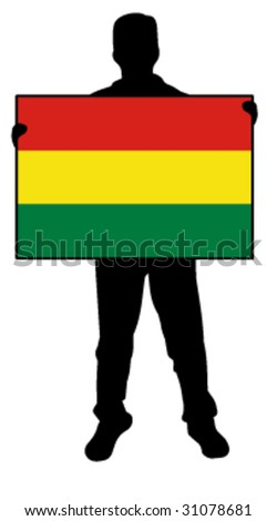 vector illustration of a man holding a flag of bolivia