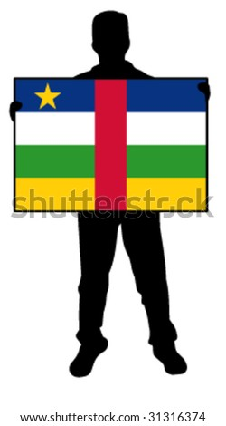 vector illustration of a man holding a flag of central african republic