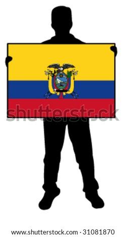 vector illustration of a man holding a flag of ecuador - stock vector