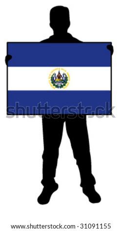 vector illustration of a man holding a flag of el salvador - stock vector