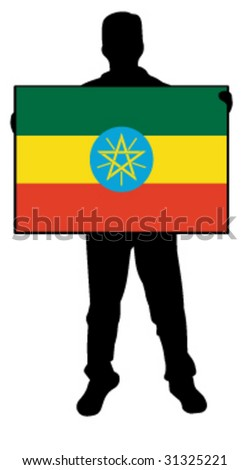 vector illustration of a man holding a flag of ethiopia - stock vector