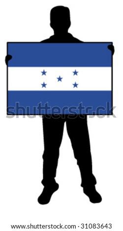 vector illustration of a man holding a flag of honduras - stock vector