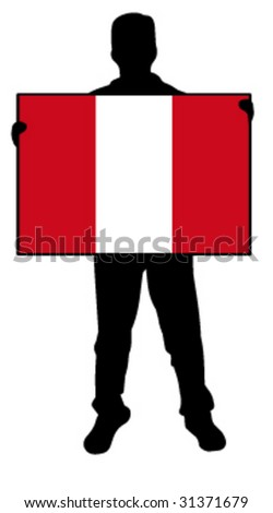 vector illustration of a man holding a flag of peru - stock vector