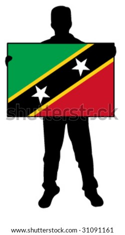 vector illustration of a man holding a flag of saint kitts nevis - stock vector