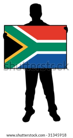 vector illustration of a man holding a flag of south africa