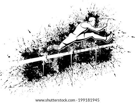 Vector illustration of a man hurdling over a splatter background. - stock vector