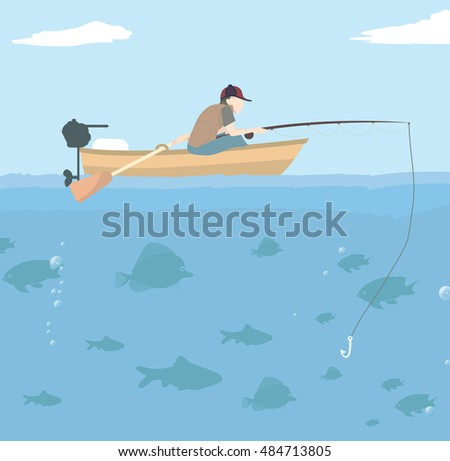 Vector Illustration of a man in a boat fishing